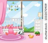 bedroom scene with babycot and...   Shutterstock .eps vector #1032070909