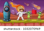 astronaut and two aliens on... | Shutterstock .eps vector #1032070969