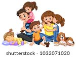 happy family with four kids and ... | Shutterstock .eps vector #1032071020
