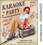 karaoke vintage poster with... | Shutterstock .eps vector #1032084223