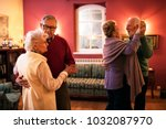 two senior couple dancing and... | Shutterstock . vector #1032087970