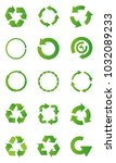 set of green recycle arrow... | Shutterstock .eps vector #1032089233