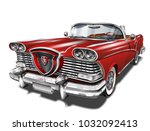 vintage red car | Shutterstock .eps vector #1032092413