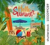 hello summer  poster. | Shutterstock .eps vector #1032099289