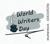 festive pattern. world writer... | Shutterstock .eps vector #1032105256