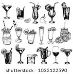 set of hand drawn sketch style... | Shutterstock .eps vector #1032122590