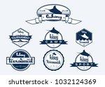 set of vintage fishing labels ... | Shutterstock .eps vector #1032124369