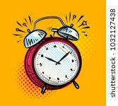 alarm clock is ringing  wake up ... | Shutterstock .eps vector #1032127438