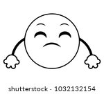 line disappoint emoji face... | Shutterstock .eps vector #1032132154