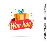 woo hoo shopping gift box | Shutterstock .eps vector #1032136069
