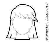 outline avatar woman faceless... | Shutterstock .eps vector #1032139750
