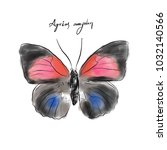 agrias amydon butterfly  hand... | Shutterstock . vector #1032140566