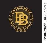 double b letter. beer pub logo. ... | Shutterstock .eps vector #1032144340