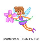 Pixel art character, small flying fairy with wings in violet dress with a pink flower isolated on white background. Magic creature logo. Friendly numph icon. Retro 80s,90s 8 bit video game graphics. | Shutterstock vector #1032147610