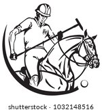 equestrian polo player and pony ... | Shutterstock .eps vector #1032148516