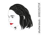 portrait of asian  hair braided. | Shutterstock .eps vector #1032152719
