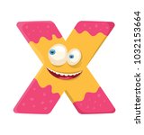 funny character of letter x...   Shutterstock .eps vector #1032153664