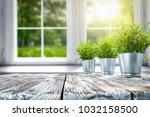 white wooden table of free... | Shutterstock . vector #1032158500