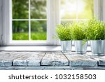 white wooden table of free... | Shutterstock . vector #1032158503