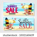 summer sale promotional banners ... | Shutterstock .eps vector #1032160639