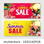 summer sale red and yellow... | Shutterstock .eps vector #1032160918