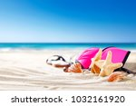shell decoration on sand and... | Shutterstock . vector #1032161920
