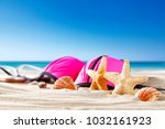 shell decoration on sand and... | Shutterstock . vector #1032161923
