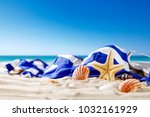 shell decoration on sand and... | Shutterstock . vector #1032161929