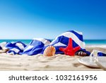 shell decoration on sand and... | Shutterstock . vector #1032161956
