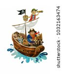 funny pirates  hand drawn... | Shutterstock . vector #1032163474