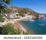 therma village on ikaria island ... | Shutterstock . vector #1032164104