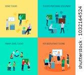 teacher 2x2 design concept with ... | Shutterstock . vector #1032164524