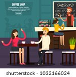 colored cafe worker flat... | Shutterstock . vector #1032166024
