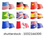 waving flags of popular... | Shutterstock .eps vector #1032166300