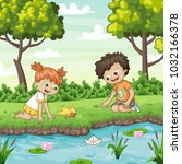 two children play with a boat... | Shutterstock .eps vector #1032166378