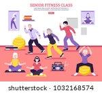 seniors group fitness class...   Shutterstock . vector #1032168574