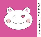 cat funny face icn on pink... | Shutterstock .eps vector #1032172363