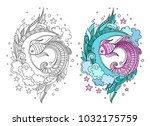 hand drawn round composition of ... | Shutterstock .eps vector #1032175759