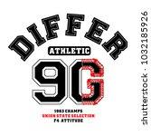 athletic print for t shirt... | Shutterstock .eps vector #1032185926