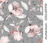 Stock photo seamless pattern with spring flowers and leaves hand drawn background floral pattern for 1032185950