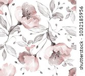 Stock photo seamless pattern with spring flowers and leaves hand drawn background floral pattern for 1032185956