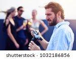 celebration time. brutal young... | Shutterstock . vector #1032186856