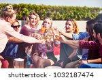 emotional time. joyful young... | Shutterstock . vector #1032187474