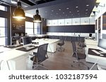 modern cozy loft office... | Shutterstock . vector #1032187594