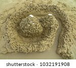 artistic sand drawings on the... | Shutterstock . vector #1032191908