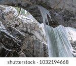 breitachklamm in winter icicles ... | Shutterstock . vector #1032194668