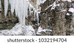 breitachklamm in winter icicles ... | Shutterstock . vector #1032194704