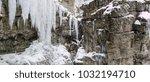 breitachklamm in winter icicles ... | Shutterstock . vector #1032194710