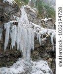 breitachklamm in winter icicles ... | Shutterstock . vector #1032194728