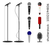 microphones  a set of... | Shutterstock .eps vector #1032194836